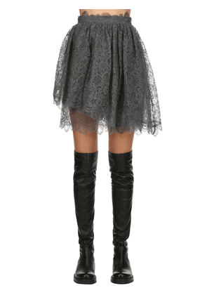 Layered Silk Lace Mini Skirt