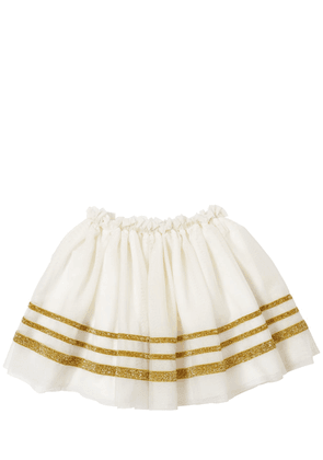 Glittered Striped Stretch Tulle Skirt