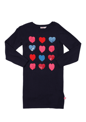 Hearts Sequined Cotton Knit Dress