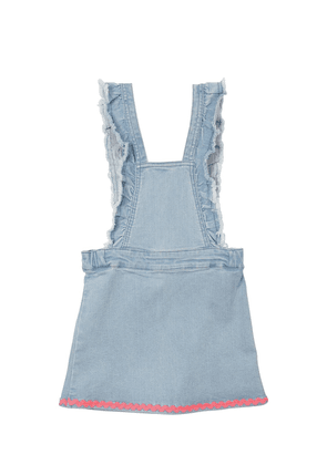 Ruffled Stretch Denim Overall Dress