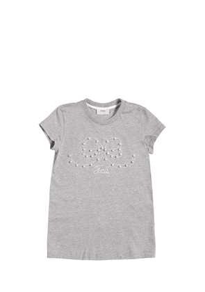Embellished Bow Cotton Jersey T-shirt