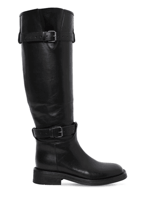 20mm Buckled Leather Knee High Boots