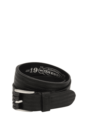 35mm Stripes Embossed Leather Belt