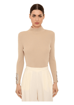 Wool Rib Knit Sweater W/ Sequined Cuffs