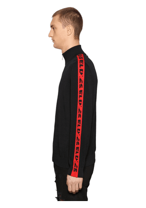 Logo Bands Cotton Blend Jacquard Sweater