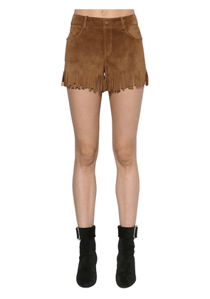 Fringed Suede Shorts