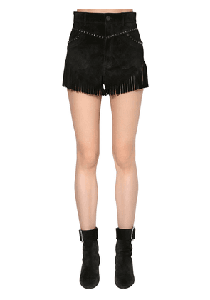 Studded Fringed Suede Shorts