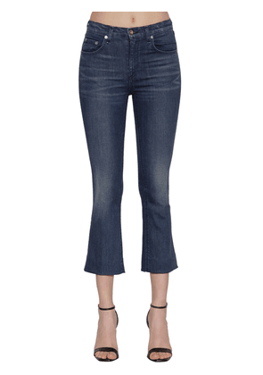 Hana Mid Rise Flared Cotton Denim Jeans