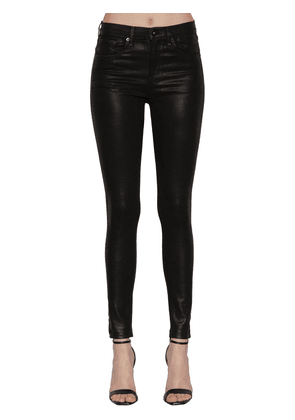High Rise Skinny Coated Cotton Jeans