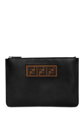 Ff Embroidered Leather Pouch
