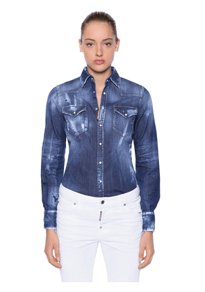 Distressed Stretch Cotton Denim Shirt