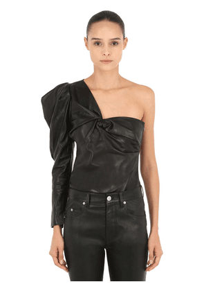 Noop One Shoulder Leather Top