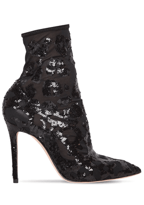 105mm Sequin & Mesh Ankle Boots