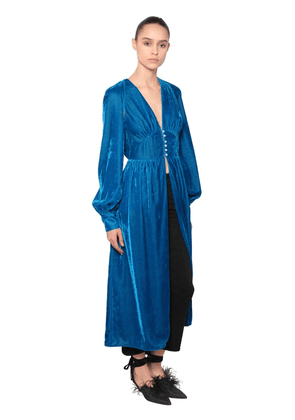 Open Front Velvet Dress W/ Puff Sleeves