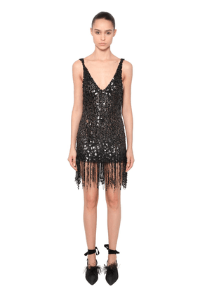 Sequined Mini Dress With Fringe