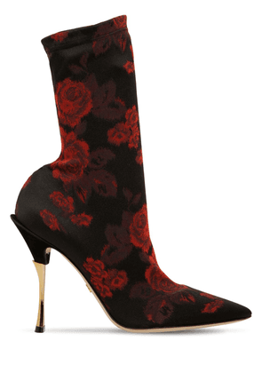 105mm Floral Stretch Jersey Ankle Boots