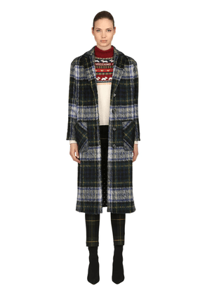 Oversized Wool Blend Plaid Coat