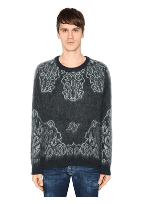 Brushed Mohair & Wool Jacquard Sweater