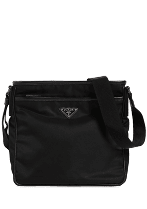 Nylon Crossbody Bag W/ Leather Trim