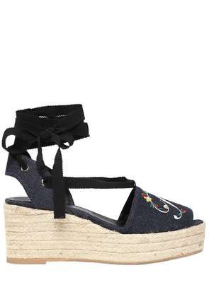 65mm Embroidered Denim Lace-up Wedges
