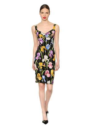 Floral Stretch Silk Charmeuse Dress
