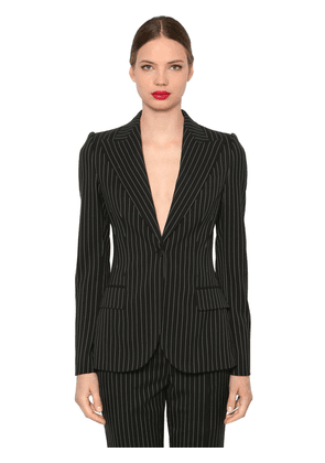 Pinstriped Stretch Cool Wool Blazer