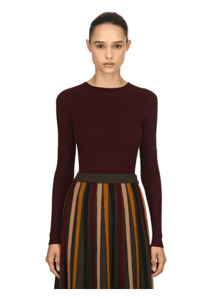 Stretch Viscose Rib Knit Sweater