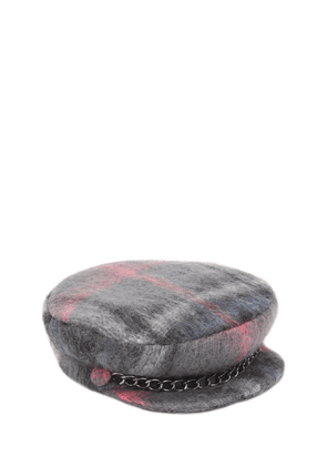Marina Plaid Wool & Mohair Blend Hat