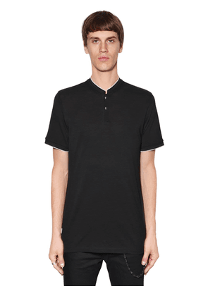 Mandarin Collar Jersey Polo Shirt