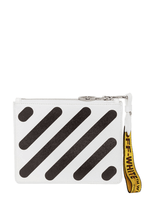 Diagonal Stripes Leather Pouch