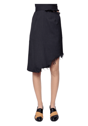 Asymmetrical Pinstriped Wool Skirt