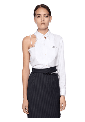 Asymmetrical Raw Cut Cotton Shirt