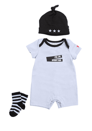 Cotton Jersey Romper, Hat & Socks