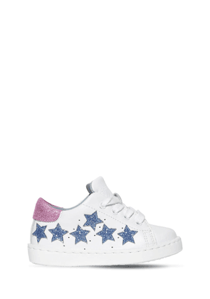 Glittered Stars Leather Sneakers