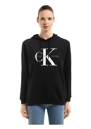 Hooded Logo Printed Cotton Sweatshirt
