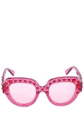Squared Sunglasses W/ Heart Crystals
