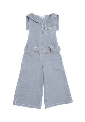 Striped Stretch Cotton Denim Jumpsuit