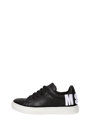 Logo Embroidered Leather Sneakers