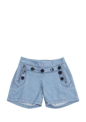 Light Denim Shorts W/ Buttons