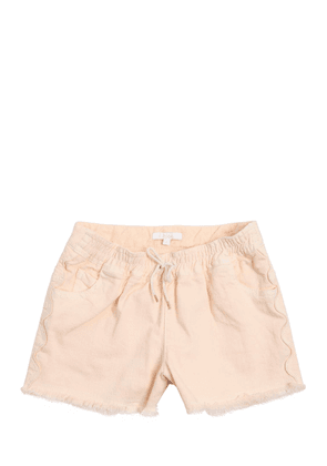 Raw Cut Stretch Cotton Denim Shorts