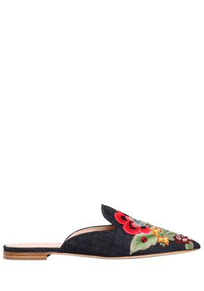 10mm Mia Embroidered Denim Mules
