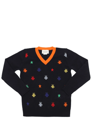 Bees Intarsia Fine Wool Knit Sweater