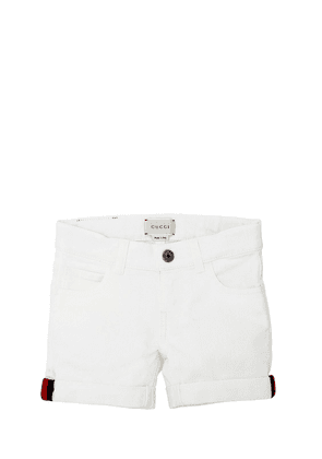 Stretch Denim Shorts W/ Web Knit Detail