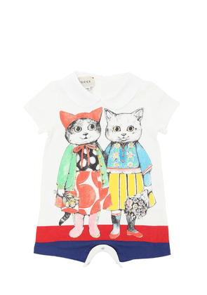 Cats Printed Cotton Jersey Romper