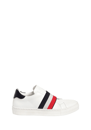 Leather Slip-on Sneakers W/ Logo Band