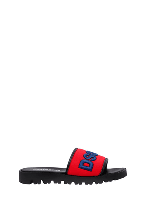 Logo Embroidered Neoprene Slide Sandals