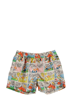 Comics Printed Nylon Swim Shorts