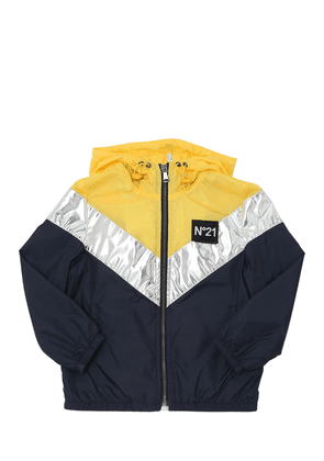 Hooded Color Blocked Nylon Jacket