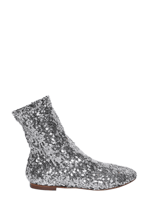 Sequined Stretch Ankle Boots