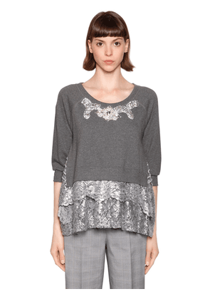 Metallic Lace & Embellished Sweatshirt